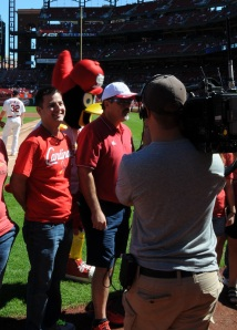 Aaron, being recognized by the St. Louis Cardinals on Sunday, Sept. 29.